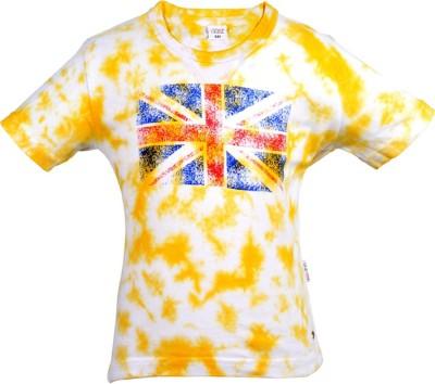 Gkidz Boys Printed Cotton Blend T Shirt(Yellow, Pack of 1) at flipkart