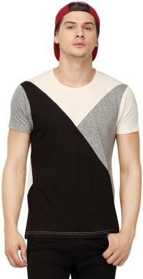 Campus Sutra Solid Men Round or Crew Black T-Shirt at flipkart