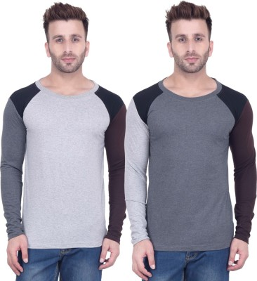 Kay Dee Solid Men Round Neck Grey, Grey T-Shirt(Pack of 2) at flipkart