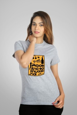 Campus Sutra Printed Women Round Neck Grey T-Shirt at flipkart