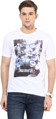 Cayman Printed Men's Round Neck White T-Shirt