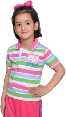 Shaun Girls Striped T Shirt(Pink)