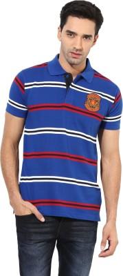 Okane Striped Men's Polo Neck Blue T-Shirt