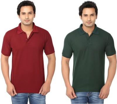 Keepsake Solid Men's Polo Neck Maroon, Dark Green T-Shirt(Pack of 2)