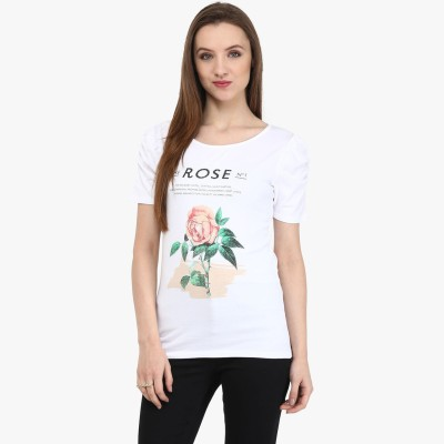 Honey By Pantaloons Printed Women's Round Neck White T-Shirt  available at flipkart for Rs.248