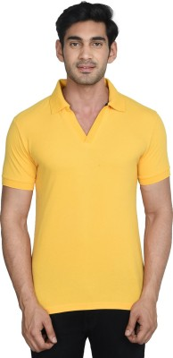 GINC Solid Men Polo Neck Yellow T-Shirt