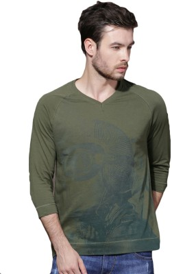 Roadster Printed Men's V-neck Green T-Shirt at flipkart