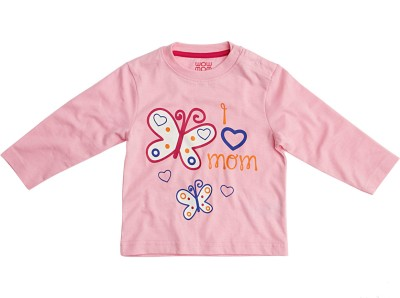 Wow Mom Girls Printed T Shirt(Pink)