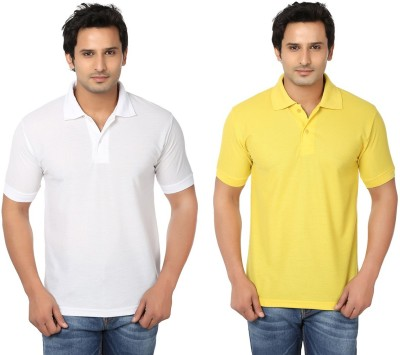 Keepsake Solid Men's Polo Neck White, Yellow T-Shirt(Pack of 2)