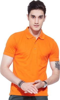 Go India Store Solid Men's Polo Neck Orange T-Shirt