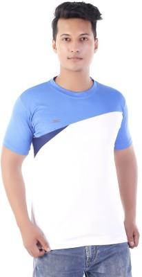 Zagros Solid Men's Round Neck White, Blue T-Shirt