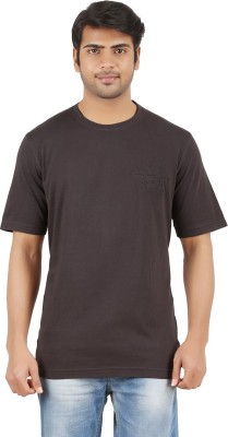 Furore Solid Men's Round Neck Brown T-Shirt  available at flipkart for Rs.199