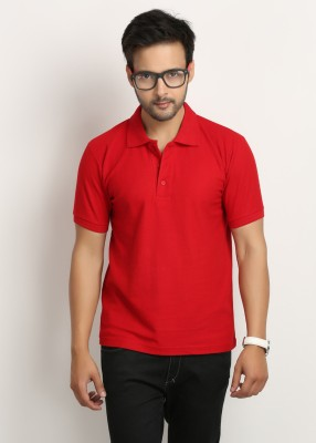 Tees Collection Solid Men Hooded Red T-Shirt