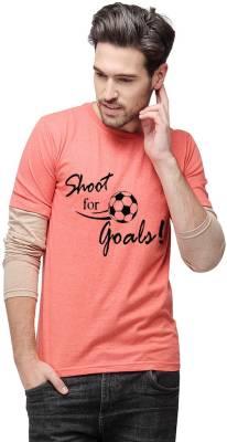 Campus Sutra Printed Men Round Neck Orange T-Shirt