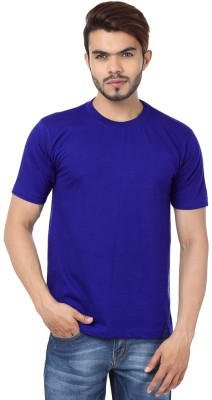 Funky Guys Solid Men's Round Neck Blue T-Shirt