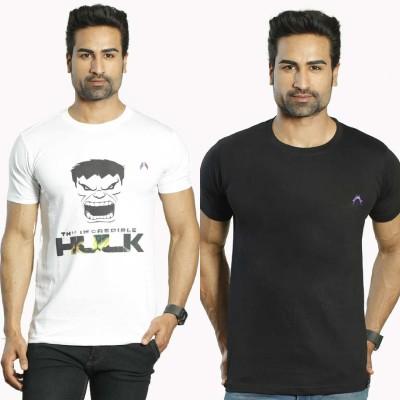 Albiten Solid Men's Round Neck White, Black T-Shirt(Pack of 2)