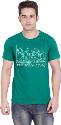 Tantra Graphic Print Mens Round Neck Light Green T-Shirt