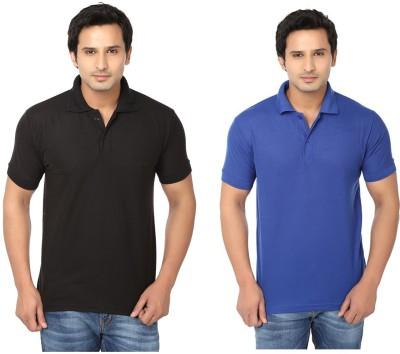 Keepsake Solid Men's Polo Neck Black, Blue T-Shirt(Pack of 2)