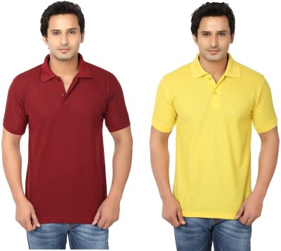 Keepsake Solid Men's Polo Neck Maroon, Yellow T-Shirt(Pack of 2)