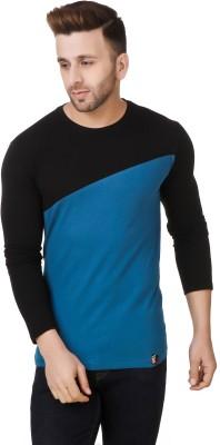 Fabstone Collection Color block Men Round or Crew Black, Blue T-Shirt at flipkart