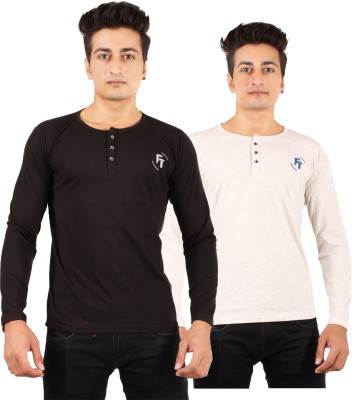 FTrick Solid Men's Henley Black, Grey T-Shirt(Pack of 2)