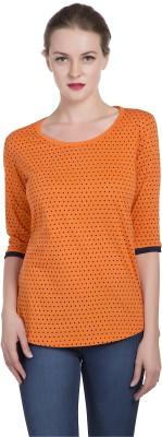 Alan Jones Polka Print Women Scoop Neck Orange T-Shirt