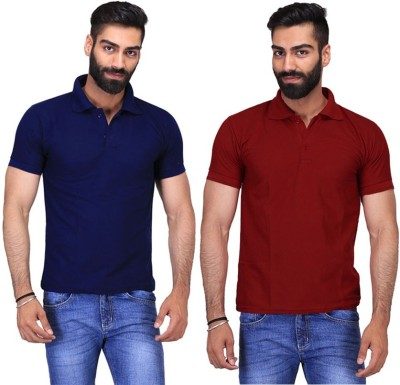 Fuego Solid Men's Polo Neck Dark Blue, Maroon T-Shirt(Pack of 2)