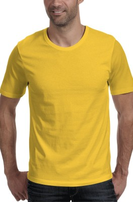 Moody's Kitchen Solid Men's Round Neck Yellow T-Shirt