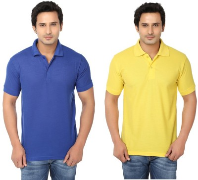 Keepsake Solid Men's Polo Neck Blue, Yellow T-Shirt(Pack of 2)