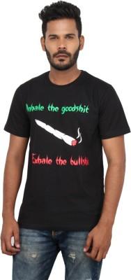 Mighty Mojo Graphic Print Men's Round Neck Black T-Shirt