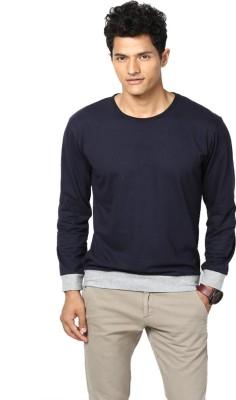 Unisopent Designs Solid Men Round or Crew Dark Blue, Grey T Shirt
