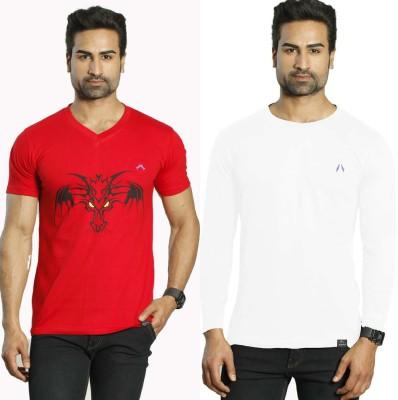 Albiten Solid Men's V-neck Red, White T-Shirt(Pack of 2)