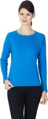 Hypernation Solid Women Round Neck Blue T-Shirt at flipkart