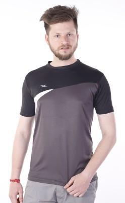 Zagros Solid Men's Round Neck Grey, Black T-Shirt