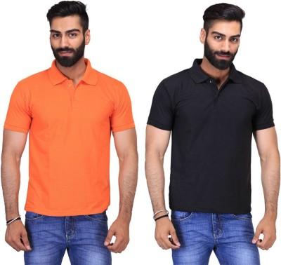 Fuego Solid Men's Polo Neck Black, Orange T-Shirt(Pack of 2)