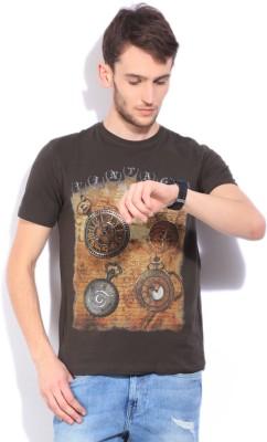Integriti Printed Men Round Neck Dark Green T-Shirt at flipkart