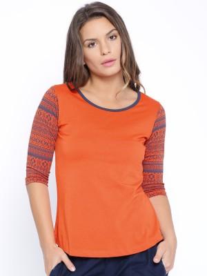 Cult Fiction Solid Women Scoop Neck Orange T Shirt Cult Fiction Women's T shirts