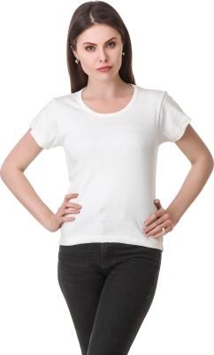 Clo Clu Solid Women Round Neck White T Shirt