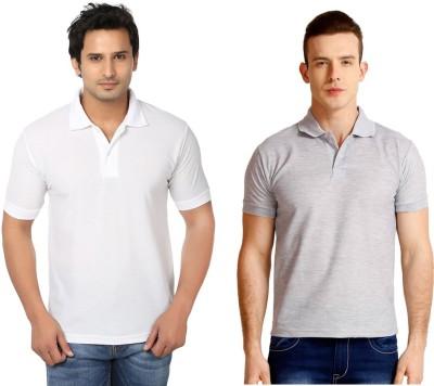 Keepsake Solid Men's Polo Neck White, Grey T-Shirt(Pack of 2)