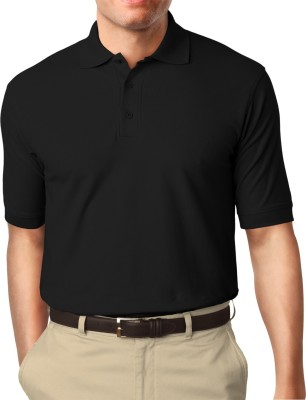 Moody's Kitchen Solid Men's Polo Neck Black T-Shirt