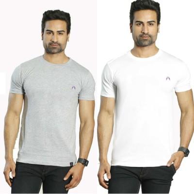 Albiten Solid Men's Round Neck Grey, White T-Shirt(Pack of 2)
