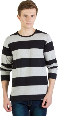 Rigo Striped Men's Round Neck Black, Grey T-Shirt at flipkart