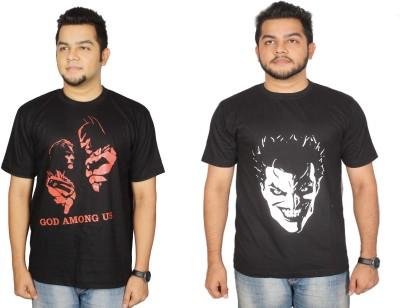 Leo Clothing Printed Men's Round Neck Reversible Black T-Shirt(Pack of 2)