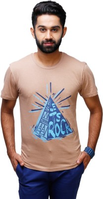 Yepme Graphic Print Men's Round Neck Brown T-Shirt  available at flipkart for Rs.199