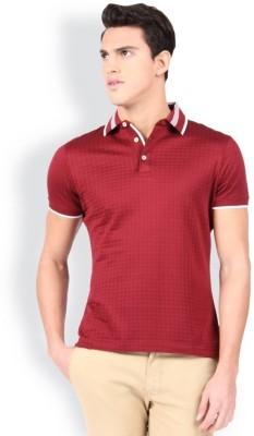 Raymond Checkered Men Polo Neck Red T-Shirt