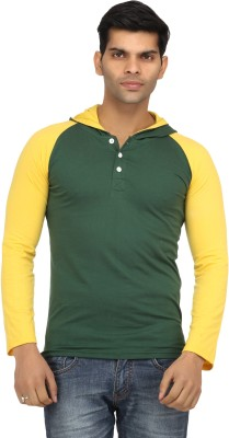 Leana Solid Men's Hooded Dark Green, Yellow T-Shirt at flipkart