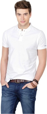 Basics Solid Men Polo Neck White T-Shirt at flipkart