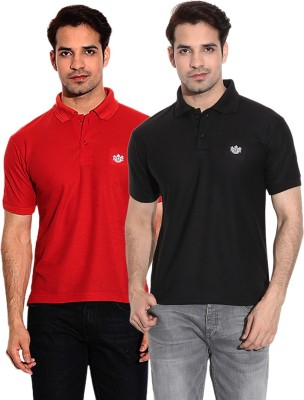 French Circle Solid Men's Polo Neck Black, Red T-Shirt(Pack of 2)
