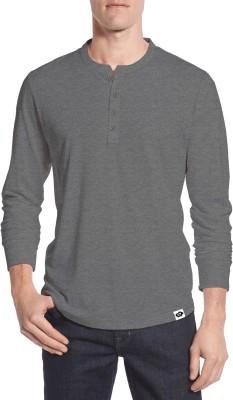 Moody's Kitchen Solid Men's Henley Black T-Shirt