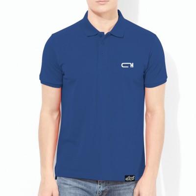 ANGI Solid Men Polo Neck Dark Blue T-Shirt